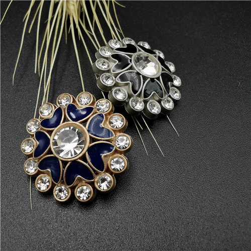 flower shape with diamond jeans metal button