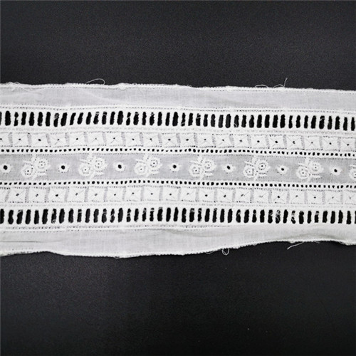 white 8cm embroidered cotton lace