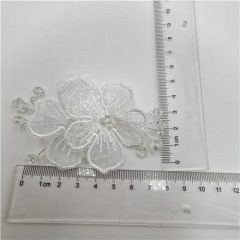 hot sale organza flower bow with beads patches