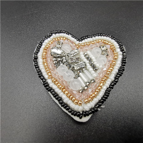 high quality hand made heart beaded patch