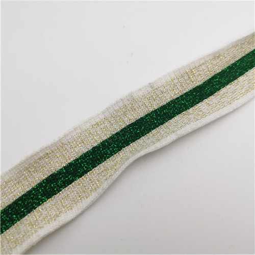 gold metallic polyester stripe tape 30mm for garment