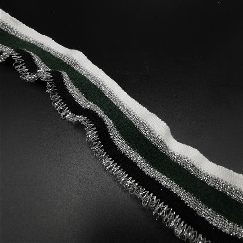 silver metallic and green stripe grain tassle webbing