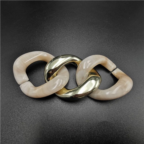 beige and gold ABS plastic buckle chain for shoes